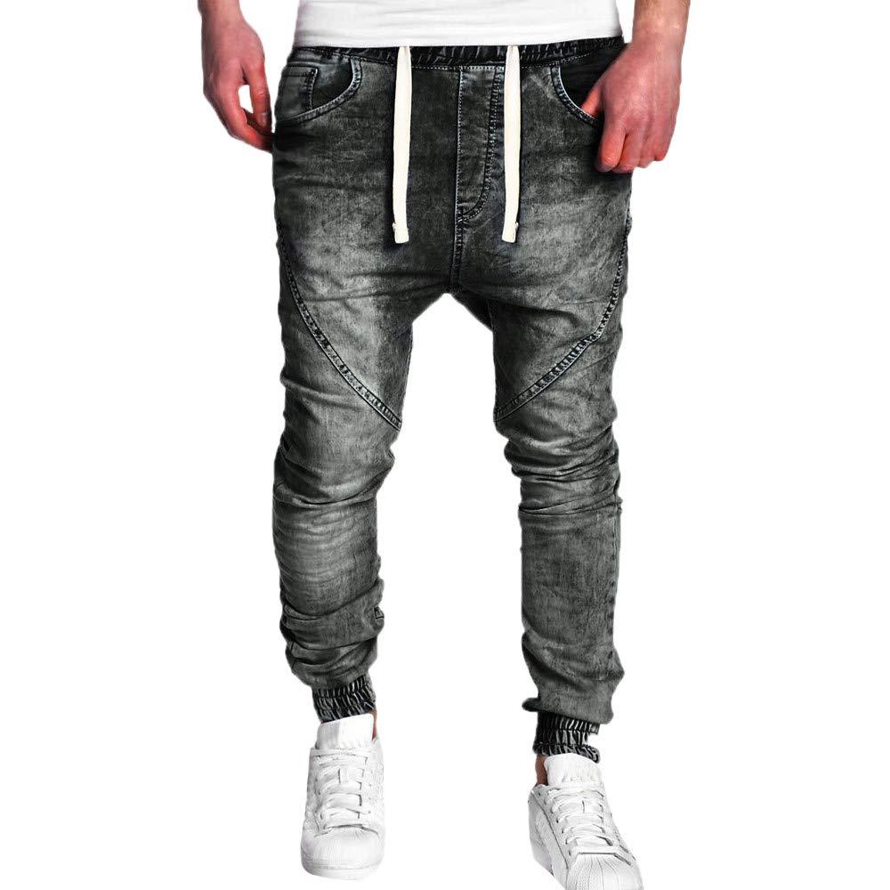Men Wash Straight Jeans Oliviavan Fashion Vintage Elastic Disstressed Slim Denim Trousers Casual Pure Color Drawstring Pant