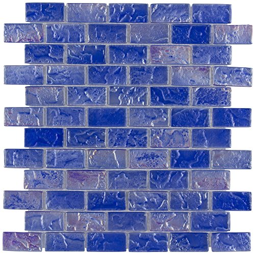 MTO0087 Classic Brick Blue Frosted Glossy Glass Mosaic Tile