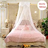 Dome Lace Mosquito Net Universal Hanging Queen Canopy Mosquito Net Tent Round Princess Lace Mosquito Net Bed Canopy, Full Hanging Kit Set, For Home or Travel Use (White, S)