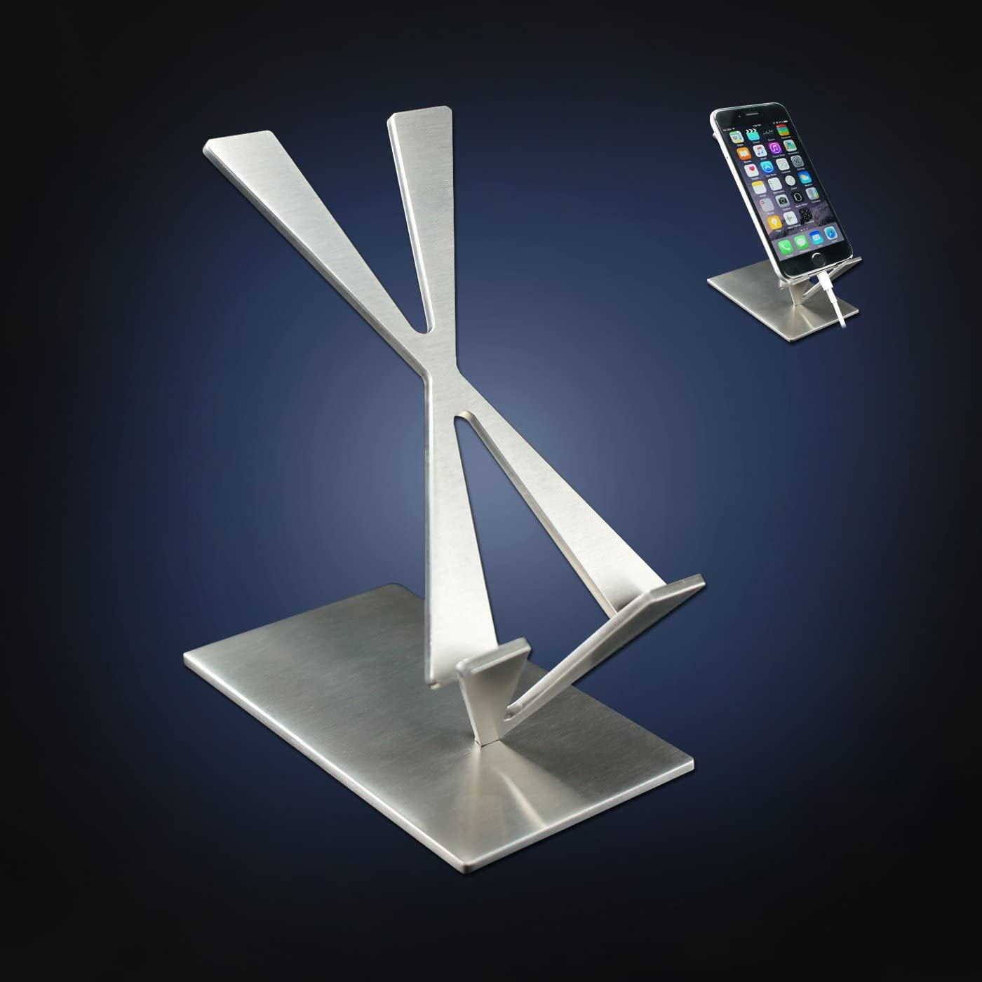 ArtsOnDesk Modern Art Desk iPhone Stand St204 Stainless Steel Satin Finish Patent Registered Especially Designed for Typing Compatible with all iPhones Google Pixel Samsung Mobile Ipad Perfect Gift