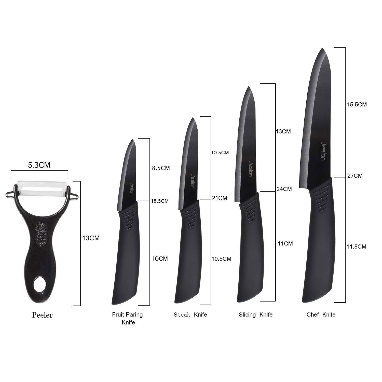 Jeslon Kitchen Knives Set, 5 Piece Ceramic Knives Black Blade 3inch Paring Knife, 4inch Fruit Knife, 5inch Utility Knife, 6inch Chef Knife and One Peeler