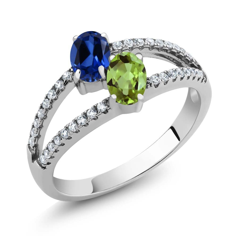 Build Your Own Ring - Personalized 2 Birthstones Ring in Rhodium Plated 925 Sterling Silver