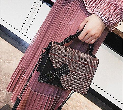 Bag Colors Black Art Messenger Stripe Three Student Bag Bag Shoulder Design Retro Woman Lock Square Lattice Handbag Owxq0SaZ