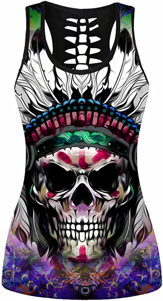 Womens Skull Printed Tank Tops Hollow Out Racerback Yoga Shirt Sleeveless Plus Size Cami