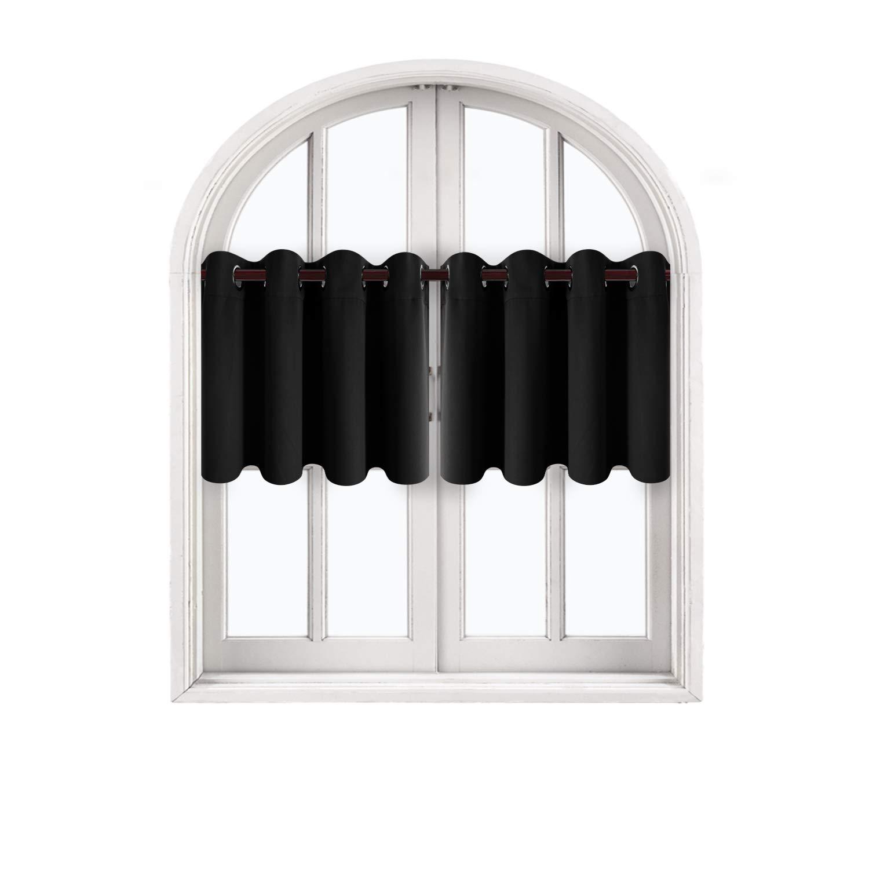 Deconovo Kitchen Pink Blackout Valances Window Treatments Grommet Top Tier Curtains for Window 52x18 Inch 2 Panels Lavender