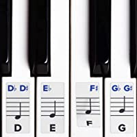 Piano Stickers for Keys – Removable w/ Double Layer Coating for 49 / 61 / 76 / 88 Keyboards