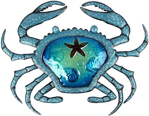 Liffy Metal Crab Wall Decor Outdoor Nautical Hanging Art Blue Glass Decorative Sculpture for Pool, Patio or Bathroom