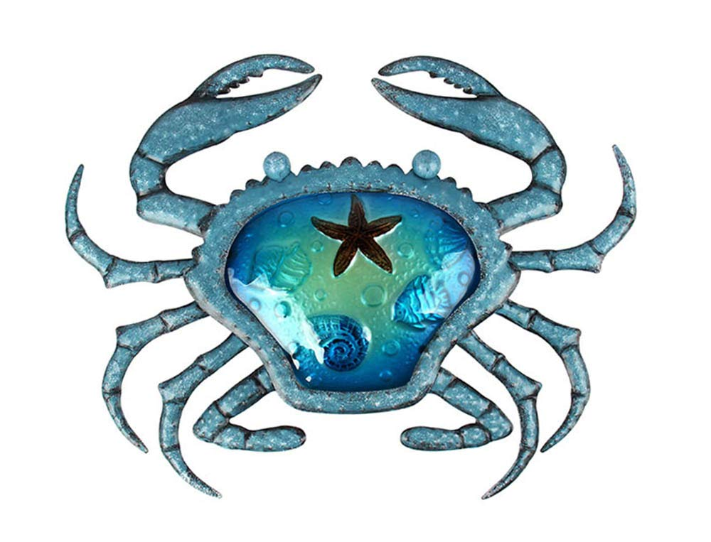 Liffy Metal Crab Wall Decor Outdoor Sea Art Hanging Decorative Glass Sculpture Blue