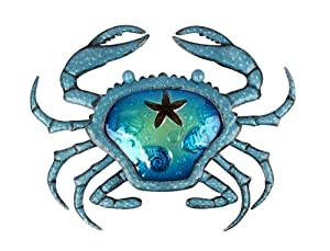 Liffy Metal Crab Wall Decor Outdoor Sea Art Hanging Decorative Glass Sculpture Blue