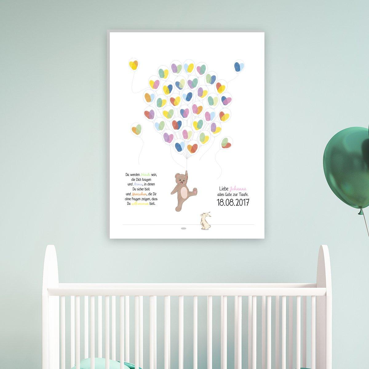 Wandkings Leinwandbild mit Ihrem Wunschtext B/ärchen mit Ballons Ideal als Geschenk zur Taufe