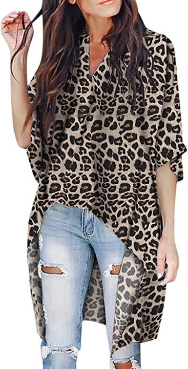 Camiseta de Mujer Manga Larga Elegante Leopardo Camiseta Moda ...