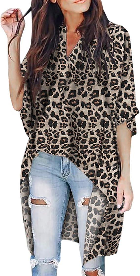 Camiseta de Mujer Manga Larga Elegante Leopardo Camiseta Moda Blusa Camisa Cuello en V básica Oficina Camiseta Suelto Otoño Tops Casual Fiesta T-Shirt Original Sudadera Tumblr Rebajas vpass: Amazon.es: Ropa y accesorios