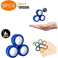 AHEYE 6PCS Magnetic Rings Fidget Toy - Toys Unzip Toy,Durable Unzip Toys Finger Exerciser,for Magic Props,Magnetic Ring,Anxiety,Autism,ADHD Fidget Rings Toys ( Blue)