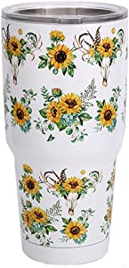 30oz Sunflower Tumblers Stainless Steel Travel Mugs with Lid Vacuum Sealed Double Wall Insulation Beverage Cup (Bullskull Sunflower)