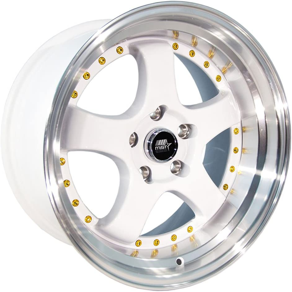 One 17x9 MST MT07 5x114.3 ET20 Matte Black w//Gold Rivets Wheel
