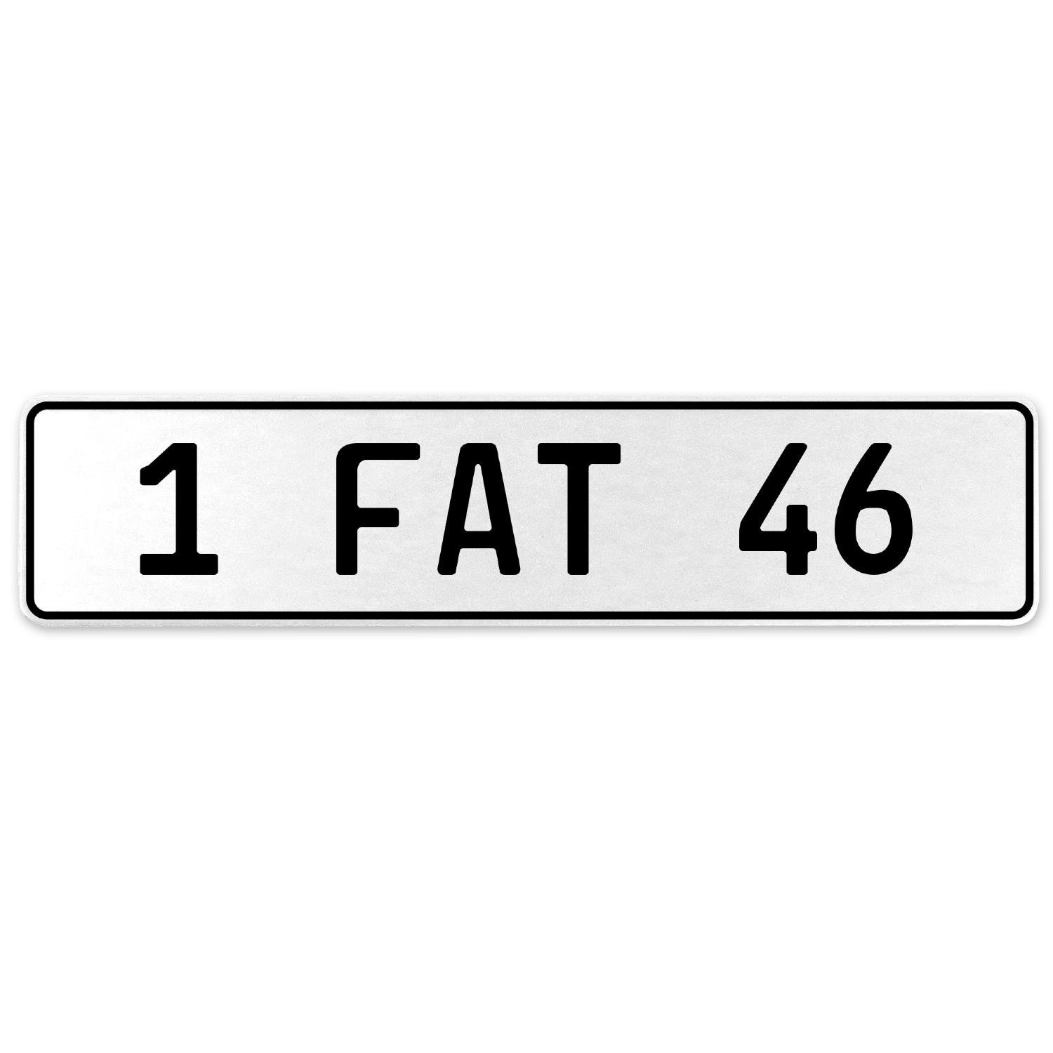Vintage Parts 554643 1 Fat 46 White Stamped Aluminum European License Plate