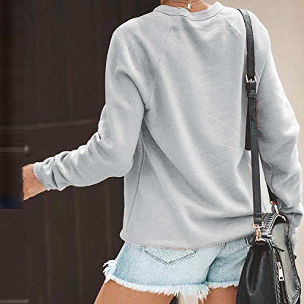 Winsummer Womens Crewneck Sweatshirt Long Sleeve Mom Mode Letter Print Terry Casual Cute Pullover Top Blouses