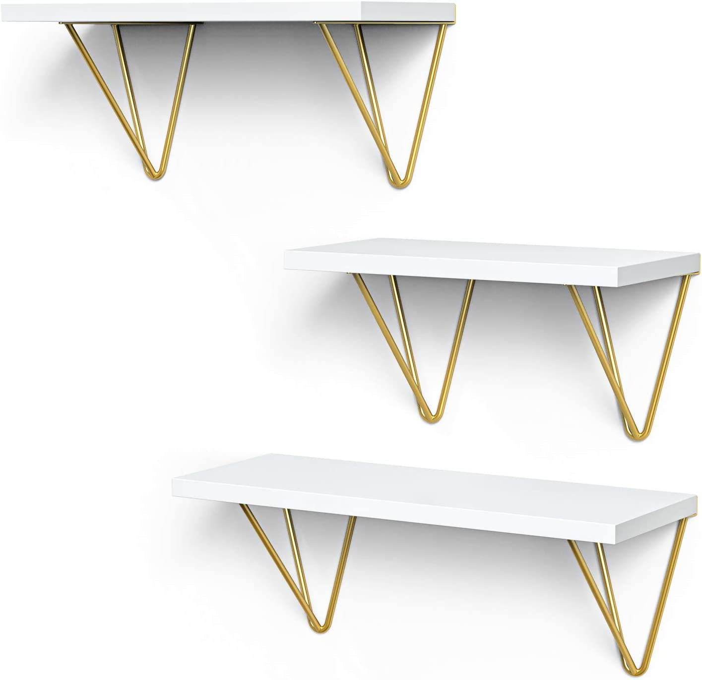 STORAGEGEAR Floating Shelves with Triangle Modern Gold Bracket Set of 3 Wall Mounted Shelves for Home Decor Living Room , Bathroom, Bedroom, Kitchen