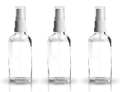 3 x 50 ml Botella de cristal transparente con blanco atomizador pulverizador