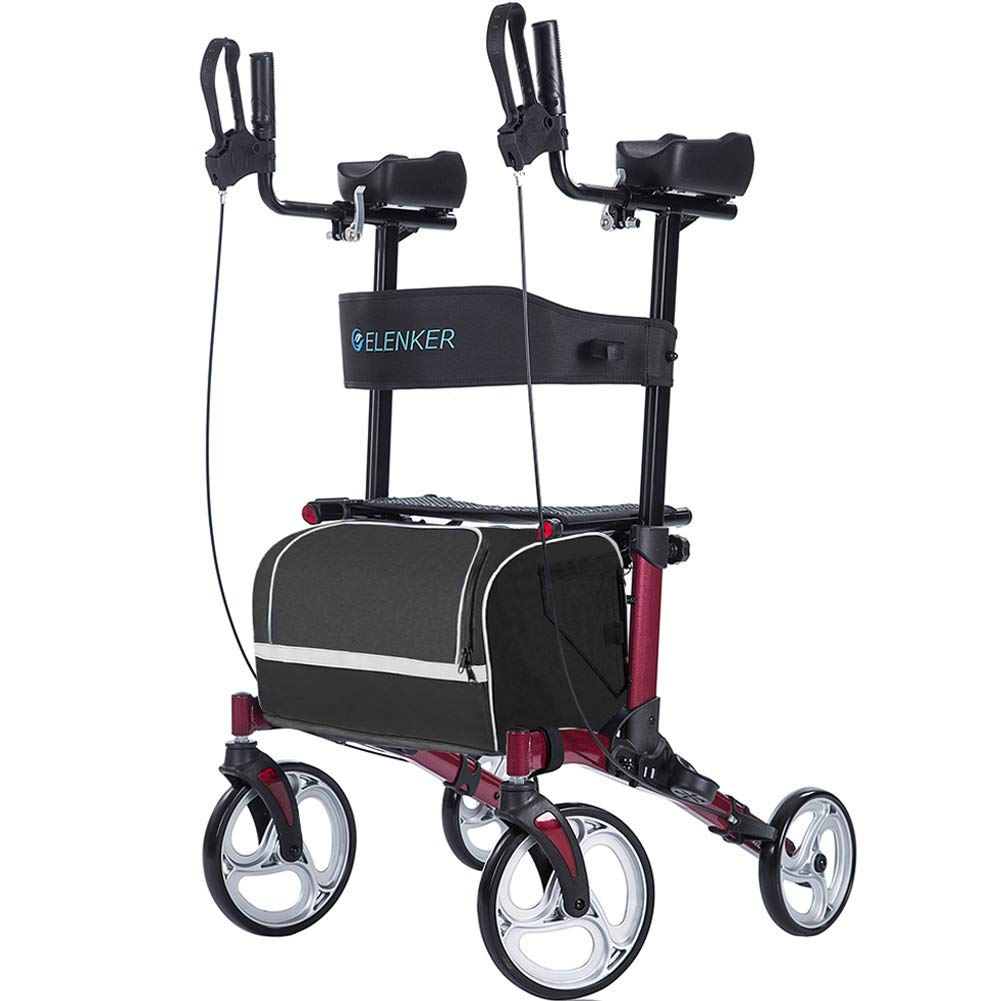 "ELENKER Upright Walker, Stand Up Folding Rollator Walker with 10"" Front Wheels, Padded Armrests, Seat and Backrest for Seniors and Adults, Red"