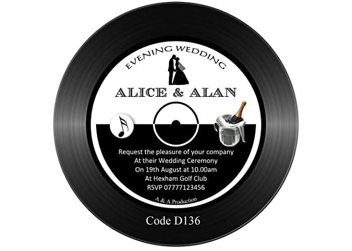 Personalised Wedding Invitations Vinyl Record Disc Shaped 145mm
