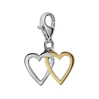 Diamond Charm, Sterling Silver, Round Brilliant Cut, 0.01 Carat Diamond Weight, Model DT012, by Hot Diamonds