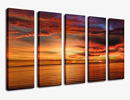 Large Canvas Wall Art Sunset Beach Painting Artwork 36u0026quot; X 60u0026quot;   5  Piece