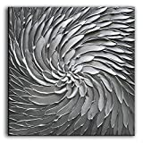 YaSheng Art - 30x30 Inch Large Abstract Art Oil Paintings on Canvas Silver Gray Gradient Color Abstract Artwork Modern Home Decor Canvas Wall Art Ready to Hang for Living Room Bedroom