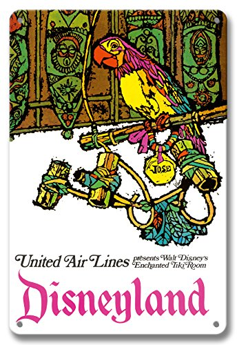 Pacifica Island Art 8in x 12in Vintage Tin Sign - Disneyland - Walt Disney's Enchanted Tiki Room - José The Mexican Macaw - United Air Lines by James Jebavy
