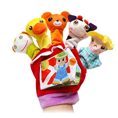 Lyperkin Finger Puppets Set - Plush Puppets Finger Doll Gloves - 10pcs Different Cartoon Animal Finger Puppets Gloves