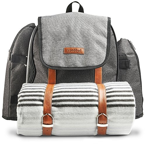(VonShef Picnic Backpack for 4 Person Outdoor Bag with Blanket - Woven Grey Waterproof Finish, Includes 29 Piece Dining Cutlery Set & Insulated Cooler Bag Compartment to Keep Food)