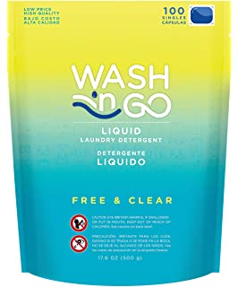 Wash n Go Liquid Detergent Singles Free & Clear, 100 Count x 2 (