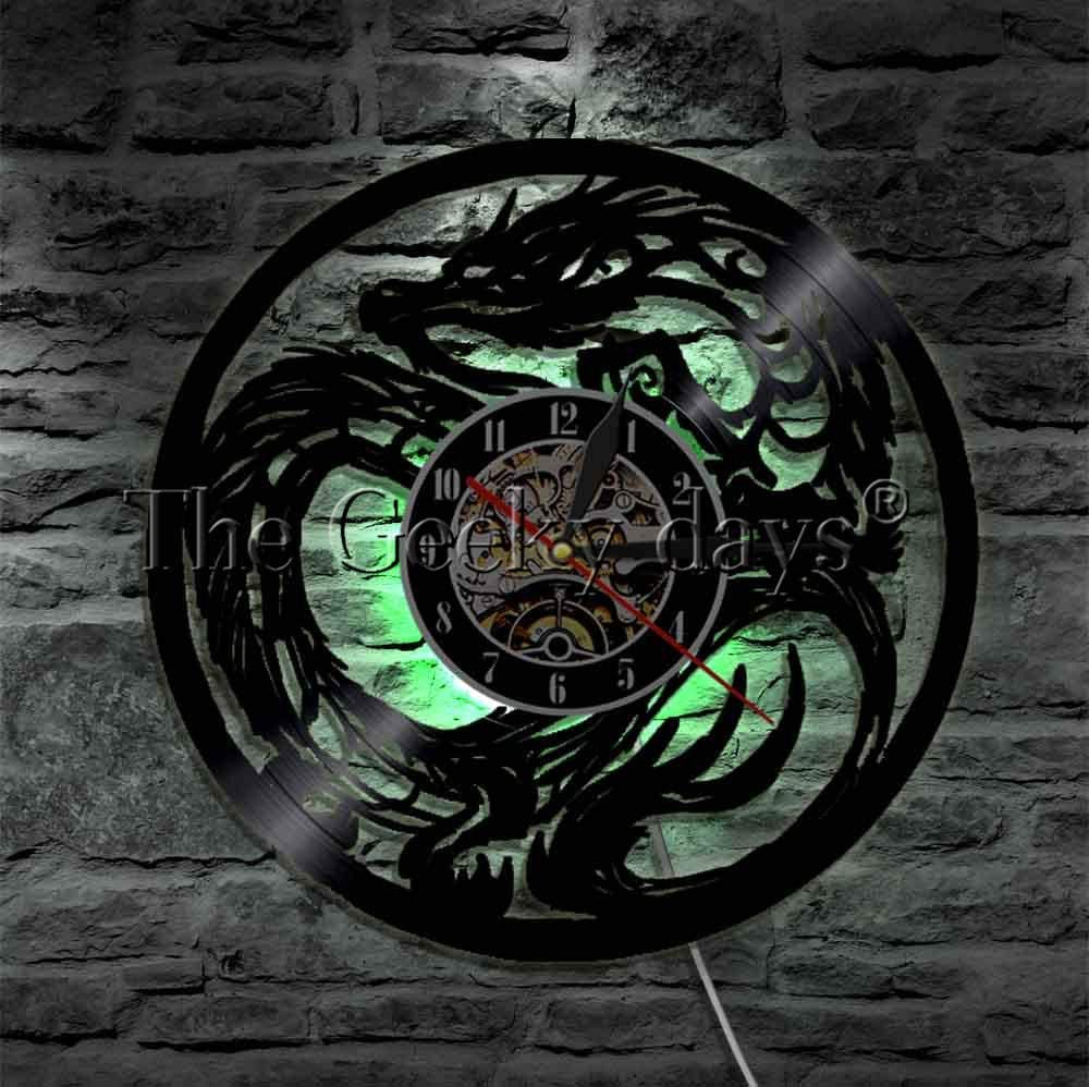 Vinyl Wall Clock Dungeon Master Dragon Led Wall Light Tribal Tattoo Art Lighting Wall Art Teen Room Decor Vinyl Record Clock Decorative Clock