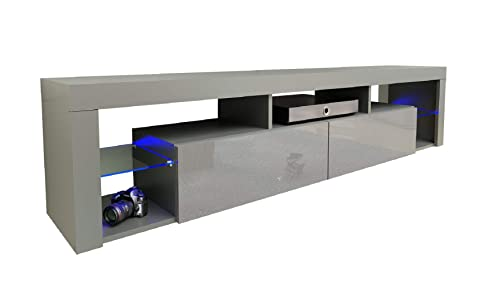 Meble Furniture Rugs TV Stand Milano 200 LED Wall Mounted Floating 79 TV Stand Gray