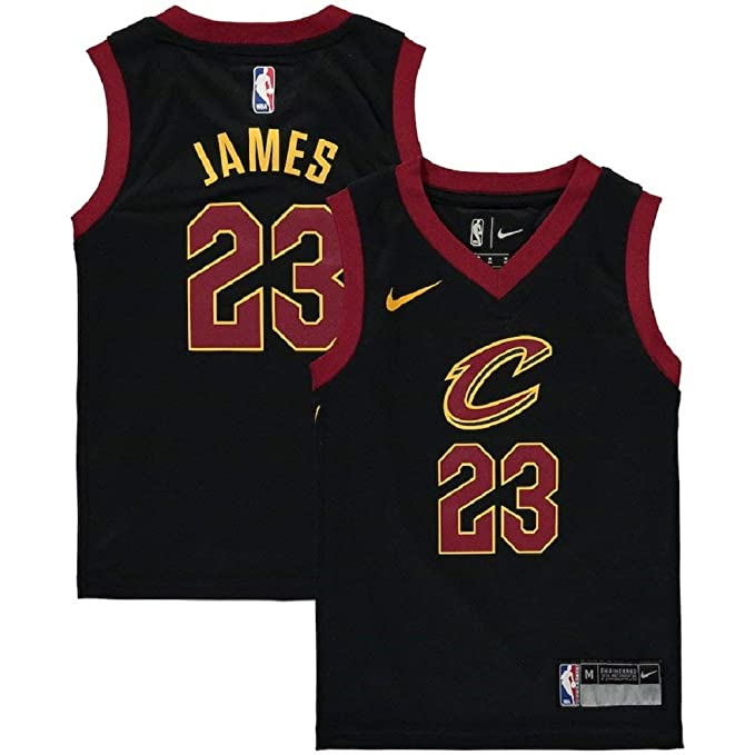 wholesale dealer 76798 9d1cb NIKE Lebron James Cleveland Cavaliers NBA Kids 4-7 Black Alternate Icon  Replica Jersey