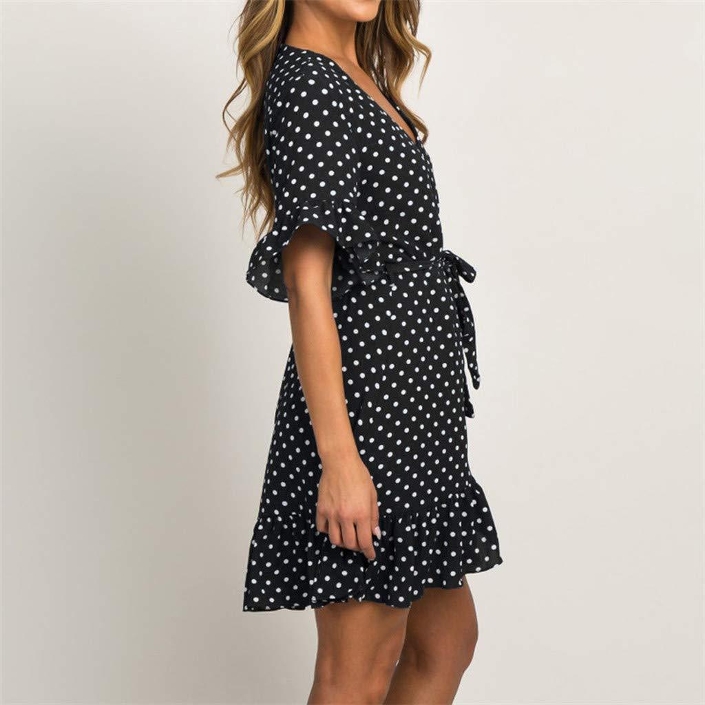 Chouron Women Polka Dot Chiffon T Shirt Dress Half Sleeve V Neck Ruffle Tied Dress Summer Elegant Dress