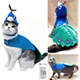Bro'Bear Pet Peacock Costume with Hat for Small Dogs & Cats Blue