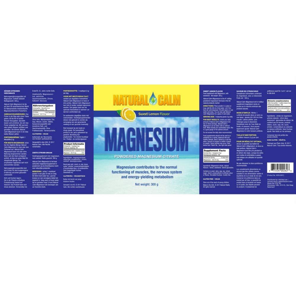 Natural Vitality Magnesio para estrés Limón 303 g: Amazon.es: Salud y cuidado personal