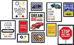 Silly Goose Gifts Dream Big Little Racer - Art Print Design Wall Room Home Bathroom Decor Wheel Set - Bright Race Hot Car (11)