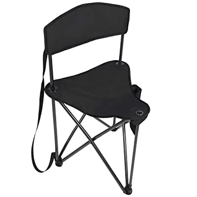 PORTAL Extra Large Quick Folding Tripod Stool with Backrest Fishing Camping Chair with Carry Strap : Sports & Outdoors