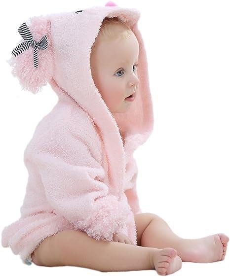 VLUNT - Albornoz con capucha para niños, algodón ecológico ...