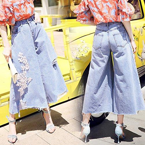 S Trou Size Larges Grande Color Grand Blue de Casual Jambes jeans Lourd Trompette perle Fond Femelle Pantalon Pantalons Taille Claire Blue Cloche Haute Couleur 5ZpBq1f