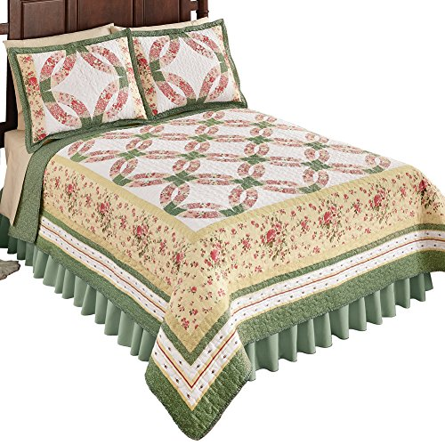 Reversible Shabby Chic Wedding Ring Cottage Floral Sage Bedding Quilt, Pink Patchwork, Full/Queen