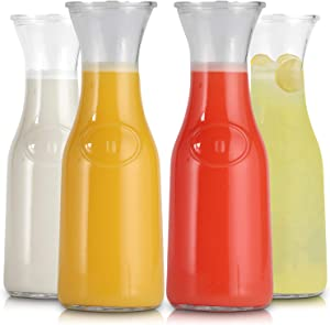 Glass Carafe with Lids 1 Liter Stylish Narrow Neck Beverage Dispenser Bottle for Brunch, Parties, Birthday, Margarita, Champagne, Mimosa, Iced Tea, Sangria, Punch, Lemonade By Latti