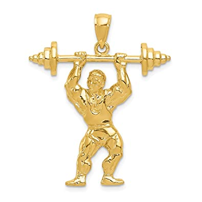 287d563e8d3 Image Unavailable. Image not available for. Color: 14k Yellow Gold  Bodybuilder Weights Pendant Charm Necklace Sport ...