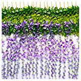 TRvancat Artificial Wisteria Vine 12 Pack 3.6FT/pcs, Fake Silk Flowers Hanging Garland for Wedding Ceremoany Arch Party Home Garden Decor (Purple)
