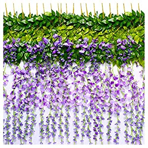 TRvancat Artificial Wisteria Vine 12 Pack 3.6FT/pcs, Fake Silk Flowers Hanging Garland for Wedding Ceremoany Arch Party Home Garden Decor (Purple) 24
