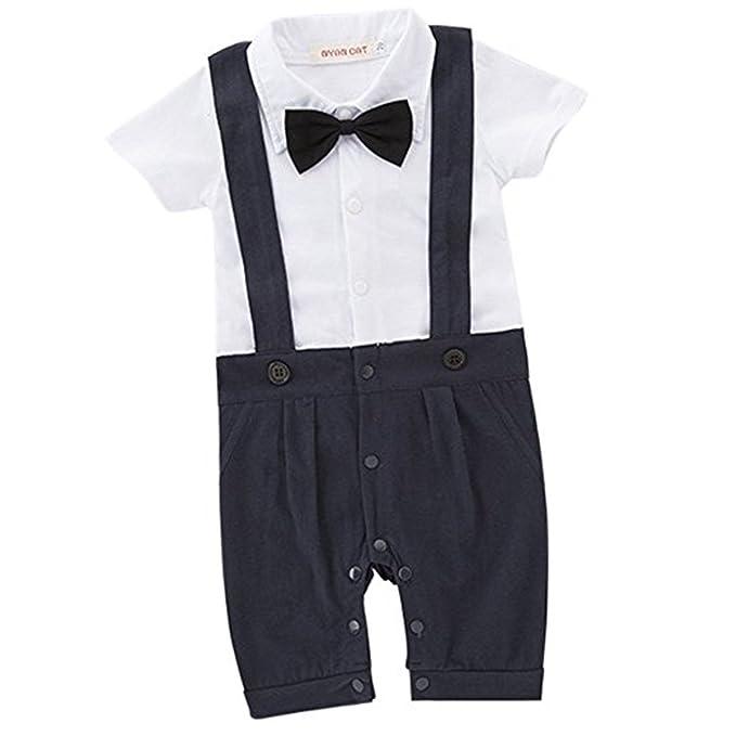 Faith Wings Vestiti battesimo bambino neonati bambini gentleman infantile  tutine complessivi Estate abiti di cotone a manica corta Camicia  pagliaccetto ... 195167678fa
