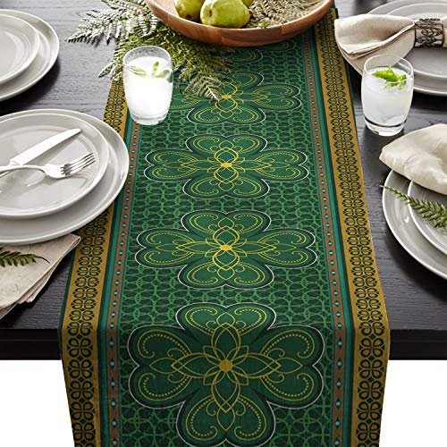 Cotton Linen Table Runner Rectangle Plate Mat Outdoor Rug Runner for Coffee Dining Banquet Home Decor, St. Patrick's day Theme Retro Celtic Knots Lucky Clover Design Irish Decor Print, 14 x 72 inch (Celtic Wedding Decorations)