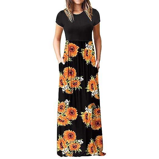 c1c78caab5 Amazon.com: ZQISHMAO Maxi Dress for Women, Womens Sunflower Print Short  Sleeve Loose Plain Long Casual Dresses with Pockets: Clothing